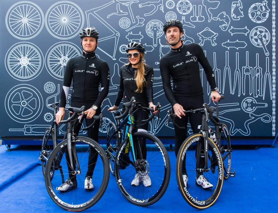 F1 World Champion Nico Rosberg, Nel-Olivia Waga and Olympic Gold Medalist Fabian Cancellara at the IWC bike ride during Laureus World Sports Awards in Monaco.